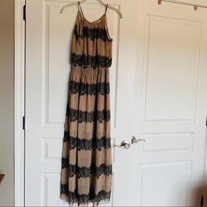Black and tan patterned halter maxi dress